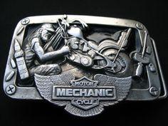 Motorcycle Mechanic Garage Repair Shop Tool Biker Chopper Belt Buckle Buckles