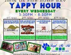 *** HUMP DAY FUN ***  Forgetmenot Inc. now has a YAPPY HOUR EVERY WEDNESDAY!!!!!   Thanks to the amazing support FMN and our Pups get from The Lost Kangaroo Pub, Tarpon Pointe Grill & Tiki Bar, The Ranch Grill & Bar and Oleary's Tiki Bar & Grill!!!!!!