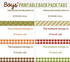 *FREE* Printable Back Pack Tags #BackToSchool #freebie #printable