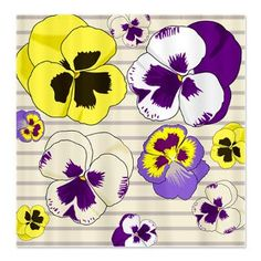 Yellow and Purple Pansies Shower Curtain