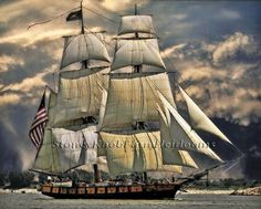 U.S. Sailing Ship ~ Seascapes ~ Counted Cross Stitch Pattern #StoneyKnobFarmHeirlooms #CountedCrossStitch