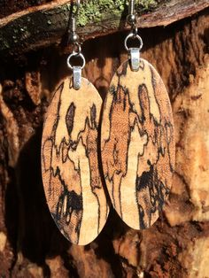 Wood Earrings Spalted Resin Infused Reclaimed Tamarind by forestlifecreations on Etsy