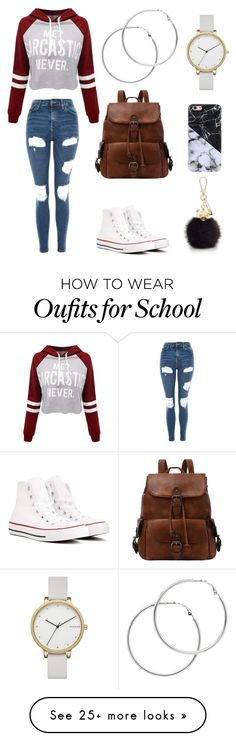 """Basic school outfit"" by yasminabenali on Polyvore featuring WithChic, Topshop, Converse, Melissa Odabash, Skagen and Furla"
