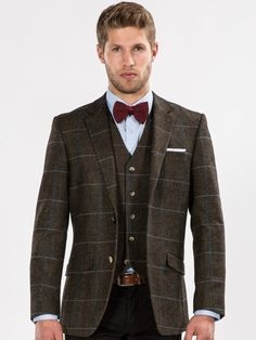 Brown Heritage Checked Tweed Look Tailored Blazer