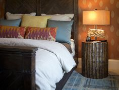 Rustic Bedroom Photo by Elk Lighting - Homeclick Community Guest Bedrooms, Bedroom Sets, Bedroom Decor, Bedroom Furniture, Bedroom Orange, Bedroom Photos, Elk Lighting, Beautiful Bedrooms, Hgtv