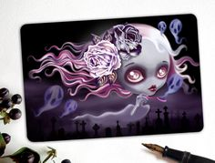 NEW Ghostly Luna Limited Edition Halloween Postcard Postcrossing postcard postcrossing halloween cemetery graveyard ghost girl haunting eerie fog blowing bubbles roses day of the dead purple 2.50 USD #goriani
