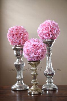 6 - 6 inch wide - PINK - wedding pomanders  - you choose ribbon color. $78.00, via Etsy. custom made 6 inch pomander rose flower balls. wedding centerpiece or isle decoration. $13 each.