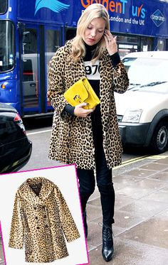 Leopard-print coat  Covet: Kate Moss' animal-print vintage coat  Love it: Forever 21's Leopard Faux Fur Coat for $62.80      Read more: http://www.usmagazine.com/celebrity-style/pictures/the-look-for-less-201331/27254#ixzz2KRDBT7La   Follow us: @usweekly on Twitter | usweekly on Facebook