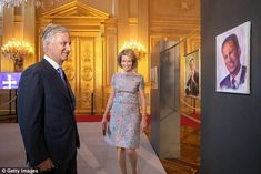 King Philippe and Queen Mathilde attended the unveiling of the Summer Exhibitions in Brussels on Friday. It includes portraits painted by the King himself - including one of his late uncle. Prince Frederik Of Denmark, Grand Duke, Embellished Dress, Queen Elizabeth Ii, Boat Neck, Belgium, The Past, Queens, Elegant