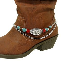 NEW CUTE WESTERN COWGIRL TURQUOISE RED BROWN OVAL ANKLET BOOT JEWELRY STRAP ONLY