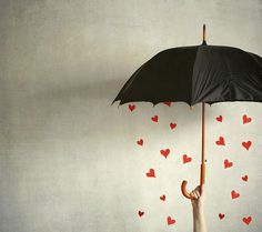 Valentines hearts under umbrella