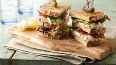 A new look for a classic club sandwich! Make your chicken salad in a jiffy by using Make-Ahead Shredded Chicken Breast pulled from your freezer and thawed.