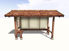 Japanese Koshikake, Garden Shelter - Yokaze - Shingles