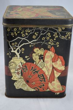 Large vintage enamel tin with Japanese figures | eBay
