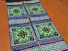 PAIR - VINTAGE Hmong Textile  -  Embroidery Hmong Tapestry  - Cross Stitches - Bead Tassels - DIY Project - Wall Hanging - Craft Supplies