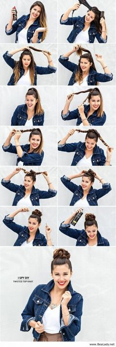 14. #Twisty Top Knot - 17 Gorgeous #Hairstyles for Lazy Girls ... → Hair #Twisted