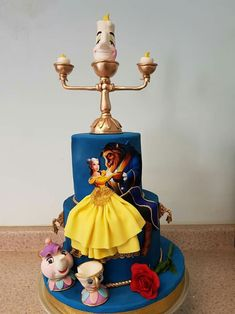 Beauty And The Beast Wedding Cake, Beauty And Beast Birthday, Kids Birthday Cupcakes, Bithday Cake, Pretty Cakes, Cute Cakes, Home Made Cupcakes, Belle Cake, Fantasy Cake