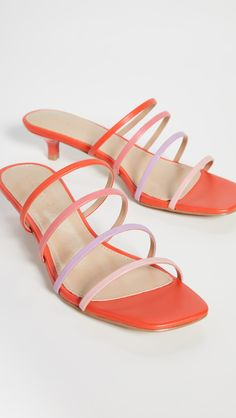 Leather: Sheepskin Padded footbed Kitten heel Open toe Synthetic sole Imported, China This item cannot be gift-boxed Measurements Heel: / Double Strap Sandals, Designer Sandals, Pretty Pastel, On Shoes, Designing Women, Pink Purple, Open Toe, Kitten Heels, Villa