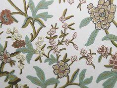 Coromandel Crewel Fabric   Crewel Embroidery   CC40 Terracotta