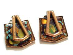 Vintage MATISSE Earrings Enamel Copper Earrings by TheCopperCat
