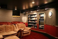 The good home theater design is a room that can be enjoyed comfortably while hanging out with family and friends. Here are some explanations about the Home Theater Room Design Ideas that can inspire you to design your Home Theatre room. Home Theatre, Home Theater Rooms, Home Theater Design, Home Theater Seating, Cinema Room, Home Entertainment, Interior Desing, Interior Ideas, Diy Casa
