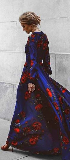 $85 Cute Chic Floral Patterned Long Sleeved Maxi Dress Cobalt Blue With Red Flower Floral Embroidery
