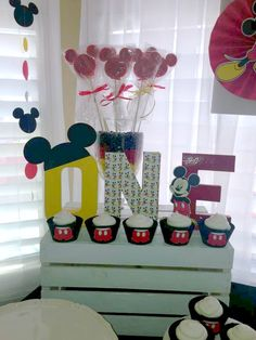 Fun decorations at a Mickey Mouse Birthday Party! See more party planning ideas at CatchMyParty.com!