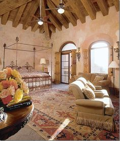 Master bedroom. Look at that ceiling!