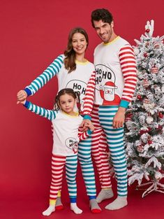 Christmas Santa Color Block Striped Family Pajama Sets - multicolor DAD M Family  Pajama Sets 1f0f33053