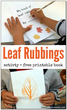 Leaf rubbings activity + free printable book. I love how this combines science and fine motor skills development for kids! || Gift of Curiosity