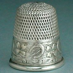 sterling thimbles | ... & Four Leaf Clover Sterling Silver Thimble/Webster Co *C1890s