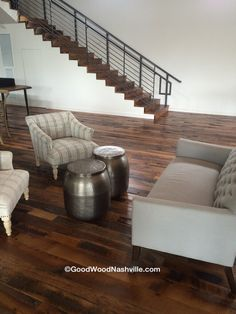 Reclaimed floors and stairs by Good Wood Nashville at The Cordelle event space in Nashville.