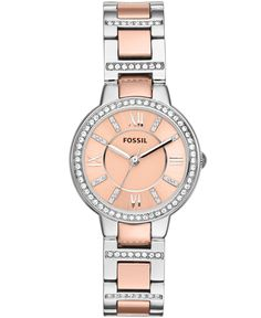 Fossil Women's Virginia Two-Tone Stainless Steel Bracelet Watch 30mm ES3405
