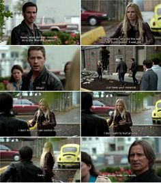 """""""Swan, what did that monster do to the Sheriff's Station?"""" Hook, """"The 'monster' who did this was not the snow queen. It was me."""" Emma, David and Rumple - 4 * 7 """" Snow Queen."""" #CaptainSwan"""