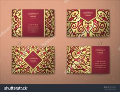 Vector Vintage Visiting Card Set. Floral Mandala Pattern And Ornaments. Oriental Design Layout. Islam, Arabic, Indian, Ottoman Motifs. Front Page And Back Page. - 378148522 : Shutterstock