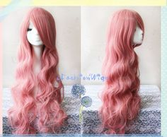85cm Long Vocaloid Luka Cosplay Wig, Pink Wavy Costume Anime Wigs for Party UF020