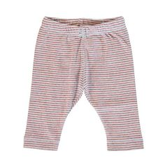 Made with extra-soft organic cotton jersey. Two-toned pinstripe pattern. Slightly tapered leg and elastic waistband.   Socially and environmentally certified pr