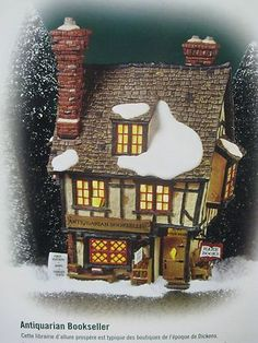 @ @ COLLECTIBLE DICKENS VILLAGE SERIES DEPT 56 ANTIQUARIAN BOOKSELLER HOUSE @ Christmas Village Houses, Christmas Villages, Christmas Ideas, Xmas, Pix Art, Dickens Village, Le Village, Glitter Houses, Winter Cards