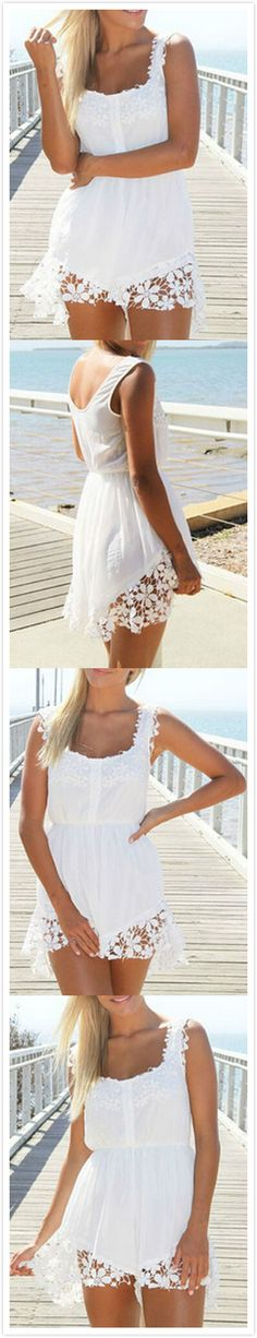 White Scoop Neck Floral Crochet Chiffon Romper