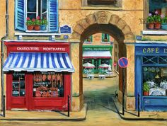 French Butcher Shop Painting