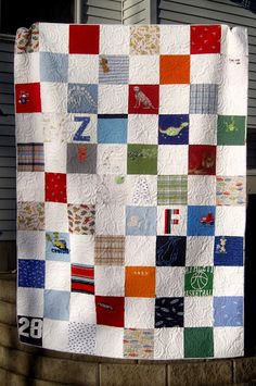 Quilt made from baby clothes *reason why I saved all his little clothes*