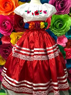 Mexican Red SKIRT ONLY day of the dead Handmade- Beautiful- Frida Kahlo style- boho hippie KID cocotheme party mexican wedding fiesta - All For Hairstyles Mexican Costume, Mexican Outfit, Mexican Party, Mexican Style, Hippie Kids, Boho Hippie, Folklorico Dresses, Day Party Outfits, Mexican Quinceanera Dresses