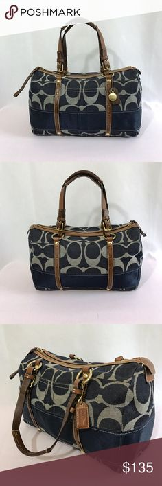 """Coach Signature Stripe Denim Satchel Blue denim with brown leather trim and gold hardware. Zip closure. 1 exterior slip pocket. Interior lining is blue and has 3 pockets (1 zips). Strap drop is approximately 6"""". Leather has some wear but still in excellent used condition. No stains. No rips and no discoloration. #C0726-11183. Coach Bags Satchels"""