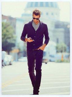 Man In Motion! Black Sweater Grey Shirt Jeans Swept Hair iPhone Sunglasses Stubble beard Trend Cellphone wardrobelooks.com