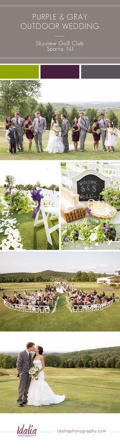 Plum and Gray Outdoor Wedding   Skyview Golf Club Wedding   Sparta, NJ