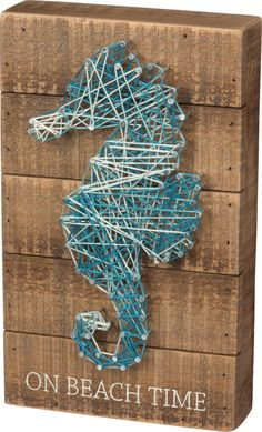On Beach Time - Seahorse String Art Plank Board Box Sign - 10-in