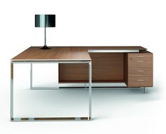 executive desks | Officity: X8 Executive desk with return, in Canaletto Walnut.
