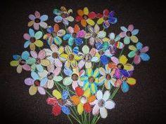 Bos bloemen met foto