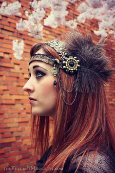 Tribal Fusion Headdress Speakeasy Flapper Belly by theverdantmuse