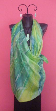 green silk scarf, Silk Scarf, 100 % silk, painted silk,  , hand made scarf, 140 x 140 cm scarf, scarf dress, habotai 6 by tothajhsa on Etsy
